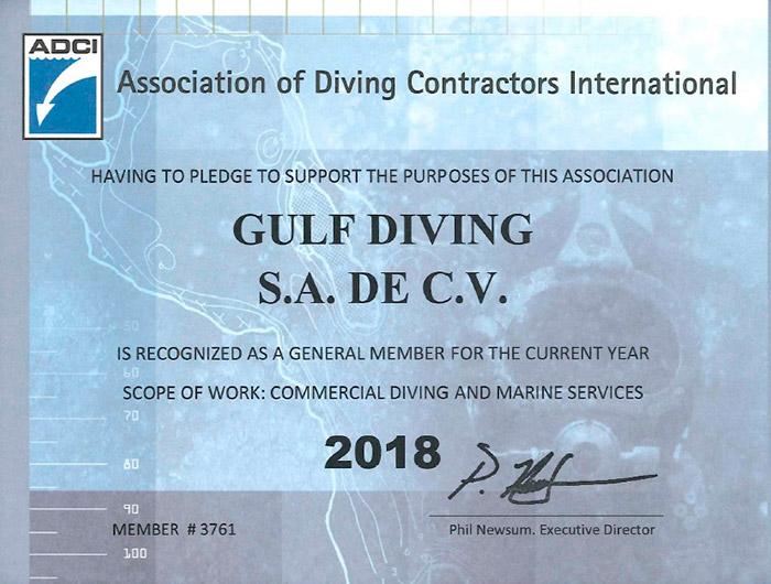 Certificado Gulf Diving